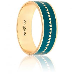 Bracelet Bollystud Ornementé Bleu Paon Plaqué Or Jaune