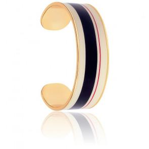 Bracelet Jonc Zef Blanc Sable & Noir Plaqué Or Jaune