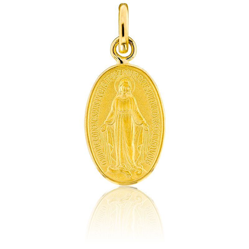 Médaille Vierge Miraculeuse Ø15 mm Bord Poli, Or Jaune 18K