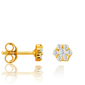Puces d'Oreilles Fleur Diamants 0,40 ct & Or Jaune 18K