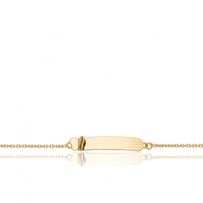 Gourmette Rectangle Papillon Or Jaune 18K
