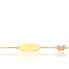 Gourmette Ovale Papillon Violet Or 9K