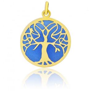 Médaille Vitrail Arbre de Vie Email Bleu