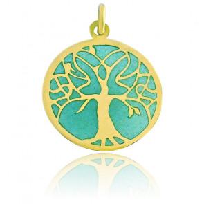 Médaille Vitrail Arbre de Vie Email Turquoise