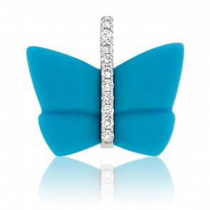 Collier Papillon Livia turquoise Or Blanc 18K & Diamants