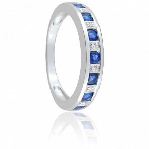 Bague Dama Saphirs, Diamants & Or Blanc 18K