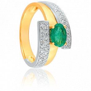 Bague Sappho 2 Ors, émeraude 0,75 ct et diamants 0,20 ct