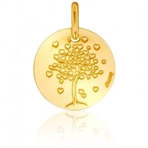 Médaille Arbre de Vie Coeurs Or Jaune 18K