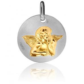 Médaille Ange Pensif Or Jaune & Blanc 18K