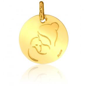 Médaille Contemporaine Vierge à l'Enfant Or Jaune 18K