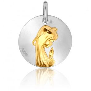 Médaille Vierge de Profil Or Jaune & Blanc 18K