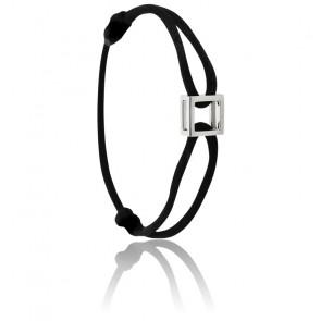 Bracelet Micro Carré Argent Cordon
