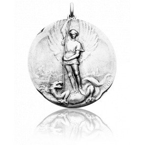 Médaille Saint Michel Or Blanc 18K