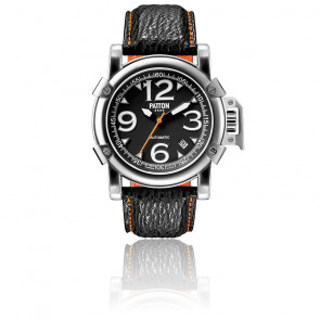 Automatic Shark Black Orange Leather