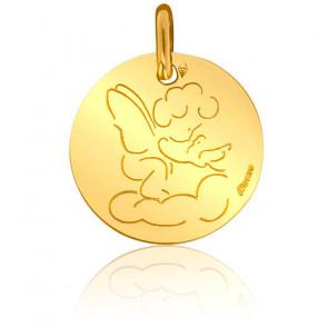 Médaille Ange à la Colombe Or Jaune 18K