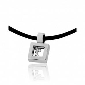 Collier Cordon Carré Diamants & Or Blanc 18 K