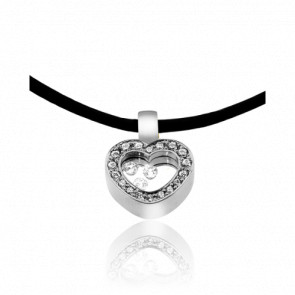 Collier Cordon Coeur Pavé Diamants & Or Blanc 18K