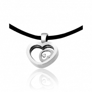 Collier Cordon Dancing Heart Diamants & Or Blanc 18K