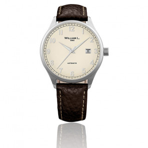 Auto Cream Dial Brown Leather