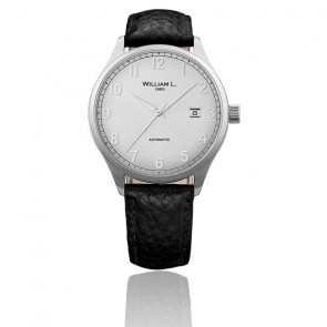 Auto Silver Dial Black Leather