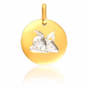 Médaille Ange Assoupi Or Blanc & Or Jaune