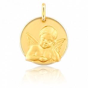 Médaille Ange Pensif de Face Or Jaune
