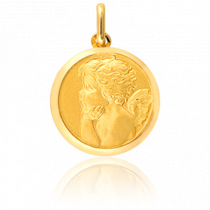 Médaille Ange Songeur de Profil Or Jaune