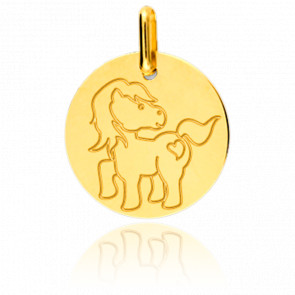 Médaille Poney Or Jaune