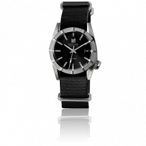 AM59 Electric Black Nato Black Silver Buckle