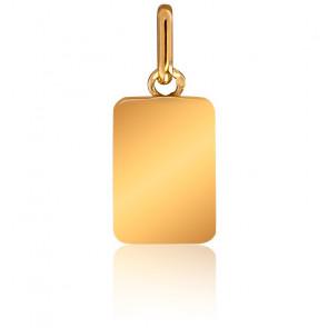 Pendentif Plaque Or Jaune 18K, 9 x 13 mm