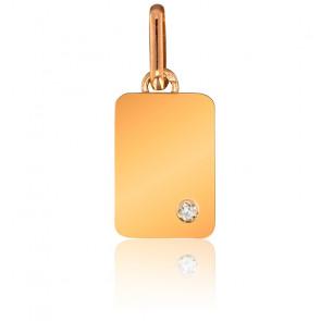 Pendentif Plaque Or Jaune 9K & Diamant 0,01 ct