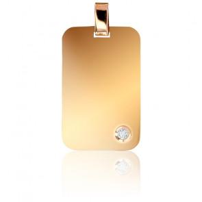 Pendentif Plaque Or Jaune 18K & Diamant 0,05 ct