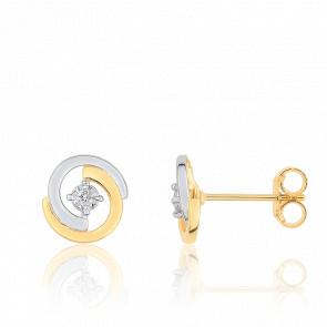 Boucles d'Oreilles Clous 2 Arcs Or Jaune & Diamant