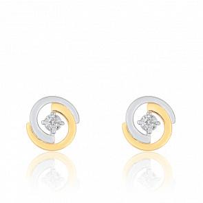 Boucles d'Oreilles Clous 2 Arcs Or Jaune 18K & Diamant