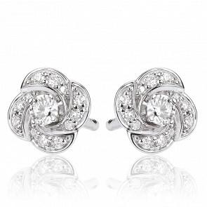 Boucles de d'Oreilles Rose Or Blanc & Diamants