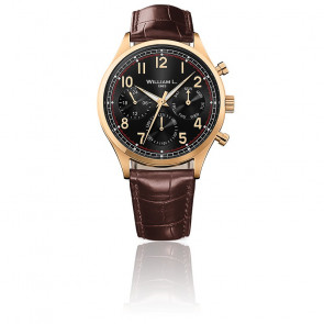 Calendar yellow gold black dial brown leather