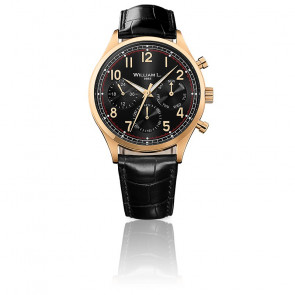 Calendar yellow gold black dial black leather