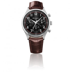 Calendar black dial brown leather