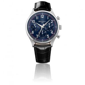 Calendar blue dial black leather