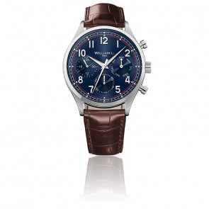 Calendar blue dial brown leather