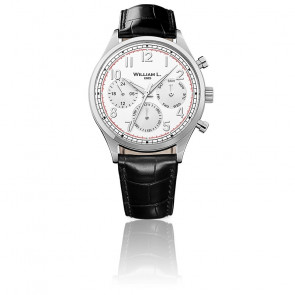 Calendar white dial black leather