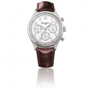 Calendar white dial brown leather