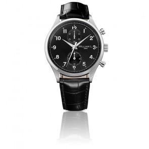 Small Chrono black dial black leather
