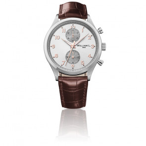 Small Chrono silver dial brown leather