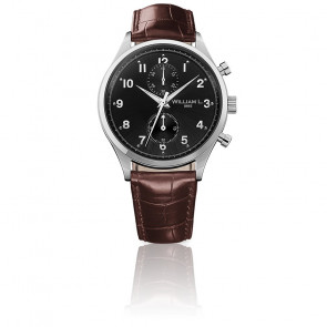 Small Chrono black dial brown leather