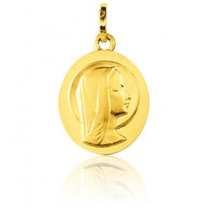 Médaille Ovale Vierge de Profil Or Jaune 9K