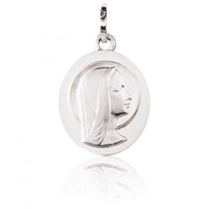 Médaille Ovale Vierge de Profil Or Blanc 9K