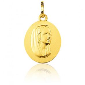 Médaille Ovale Vierge Profil Or Jaune 9K