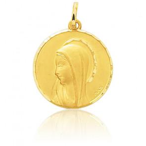 Médaille Ronde Vierge Profil Or Jaune