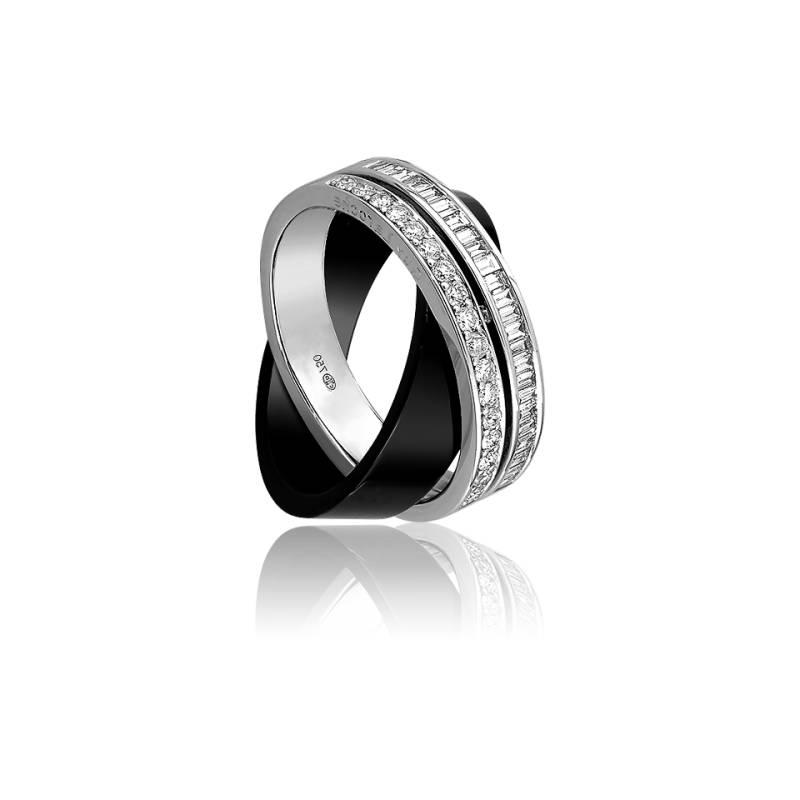 Bague en c ramique noire or blanc et diamants carat ocarat - Bague en ceramique ...